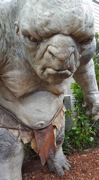 Being stared down by a large grey troll.