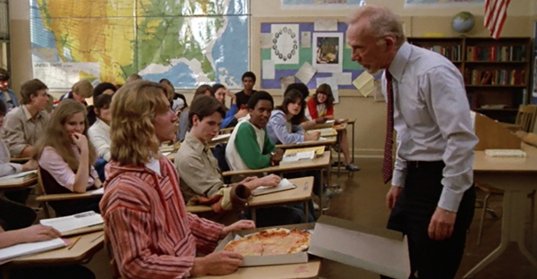 Sean Penn getting bawled out by his teacher for ordering a pizza.