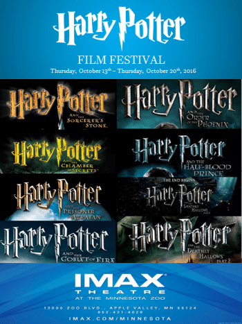 Poster for the Harry Potter Film Festival at the Minnesota Zoo, featuring the logos for all eight Harry Potter films