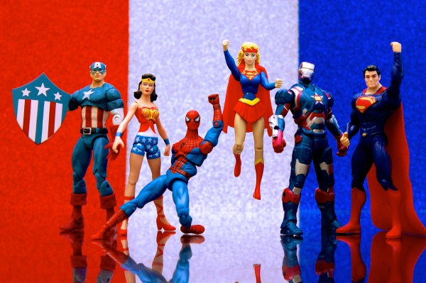 Action figures: Captain America, Wonder Woman, Spider-Man, Supergirl, Iron Patriot, and Superman