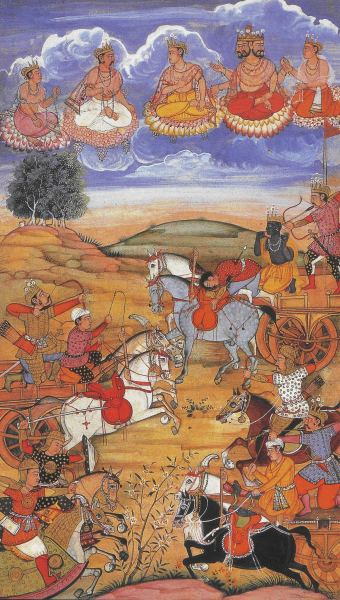 A painted battle scene