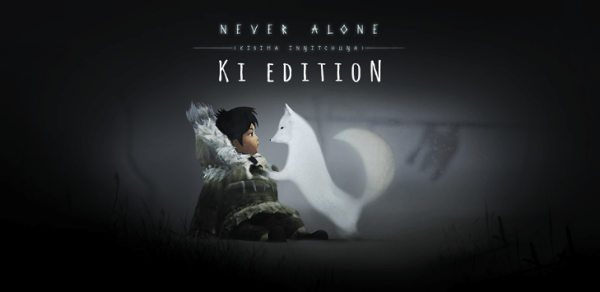 The never Alone: Ki Edition title screen, featuring the main character and her Arctic fox