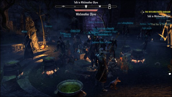 Players using their new cauldrons in Olyve's lair.