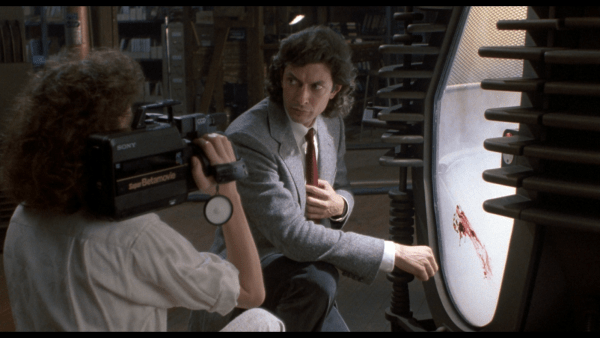 Jeff Goldblum on camera in The Fly.