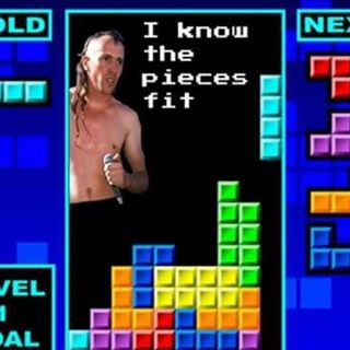 "A Tetris screen with Maynard James Keenan and the words ""I know the pieces fit"""