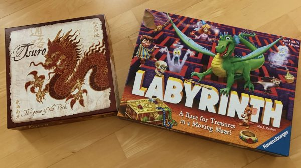 The Tsuro and Labyrinth Game Boxes