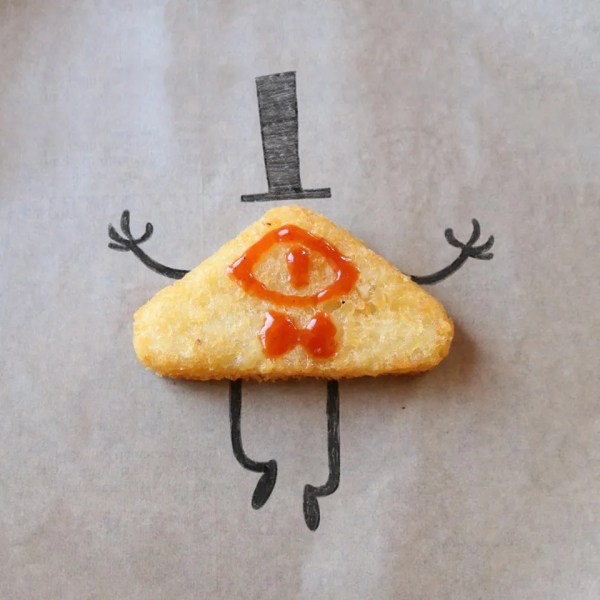 Bill Cipher from Gravity Falls, made of a potato wedge, ketchup, and market