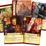 A fanned-out selection of House Lannister cards