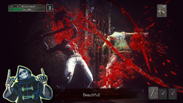 Screenshot of gameplay, featuring Fighter attacking each other and a lot of blood