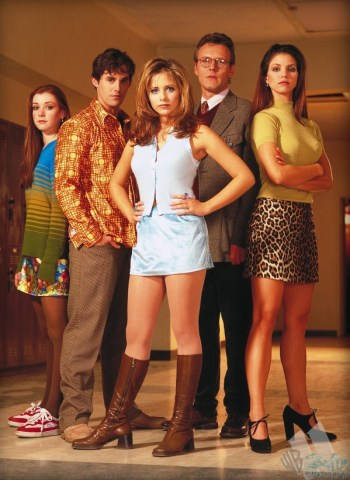 Willow, Xander, Buffy, Giles, and Cordelia in a Buffy the Vampire Slayer Promotional Photo