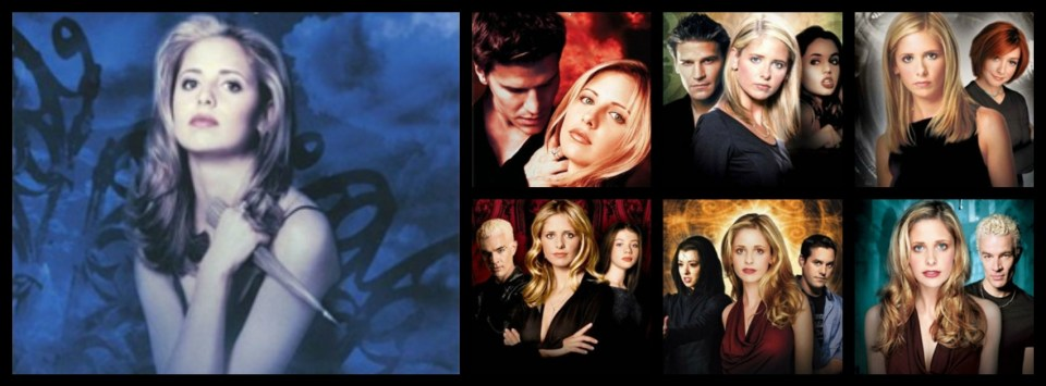 A collage of Buffy The Vampire Slayer promotional images.