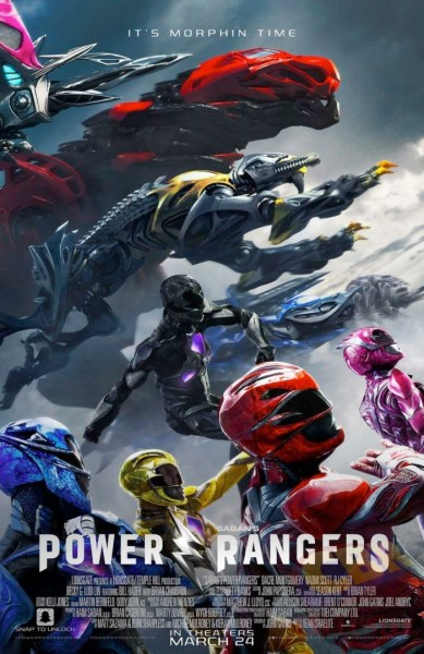 Power Rangers movie poster featuring the Rangers and their Zords