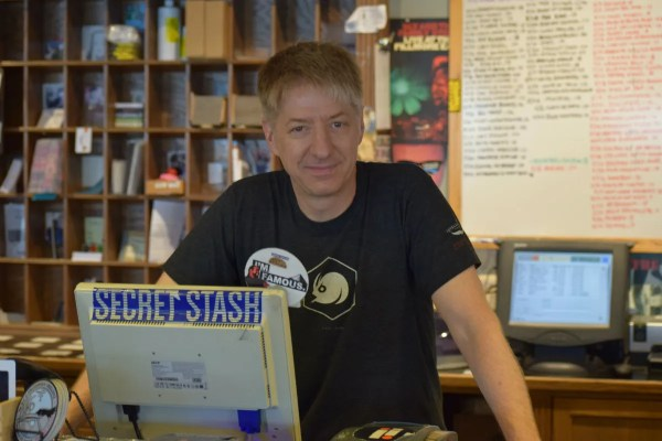 Bob Fuchs at the register of the Electric Fetus