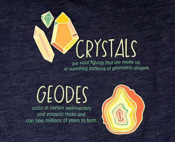 Back of a shirt explaining about Rocks and Geodes