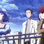 Mayuri, Okabe, and Kurisu stand near a railing on a sunny day; Mayuri is reaching toward the sky, Okabe stands in the background, and Kurisu leans against the railing looking up