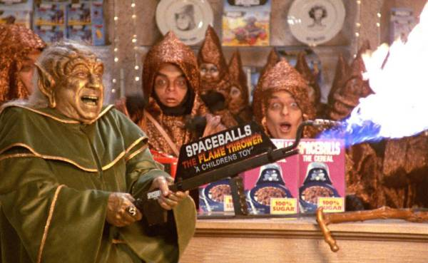 Spaceballs: The Merchandising, including Spaceballs the Flame Thrower.