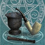 book cover. Shows a pentagram in the background. Also shows a pipe and a pestle. On the book cover is the title: Pipe and Pestle by Joseph Weinberg