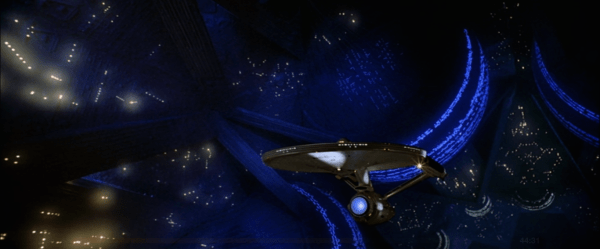 The Enterprise being dwarfed by V'ger.