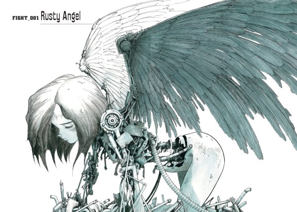 A stylized image of Alita; she has been partially reconstructed and has a huge pair of wings. She is kneeling, facing toward the left, gazing downward.