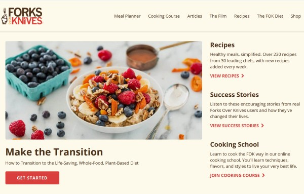 The Forks over Knives homepage