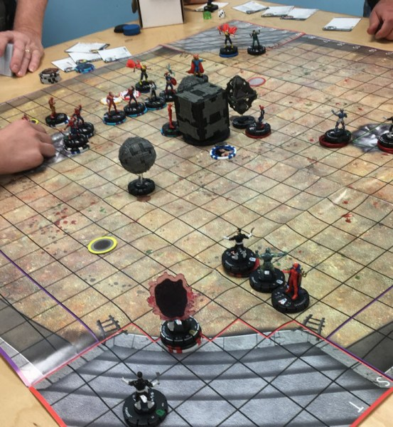 Playing a game of HeroClix