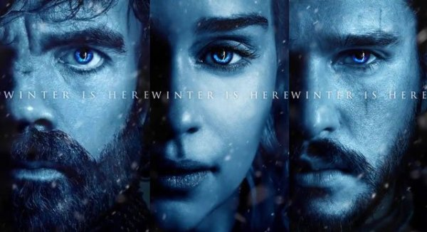 Tyrion, Daenerys, and Jon in blue tones