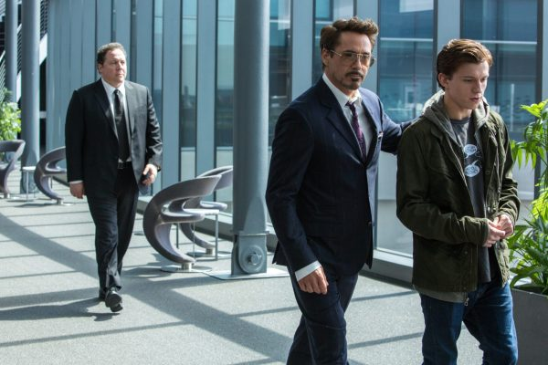 Tony Stark walks with Peter Parker