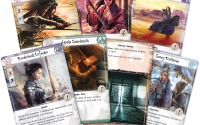 seven L5R cards fanned out