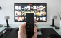 A remote and TV screen