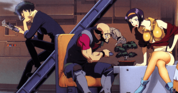 Spike, Jet, and Faye sit together in the spaceship Bebop
