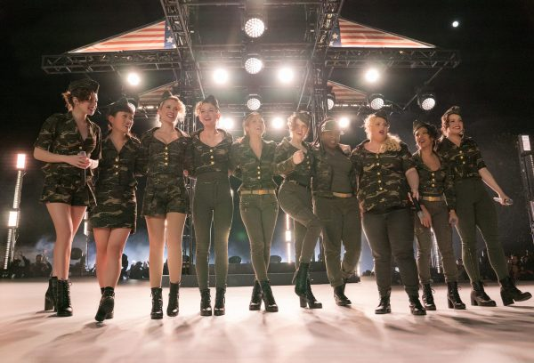 The Bellas onstage in camoflouge outfits