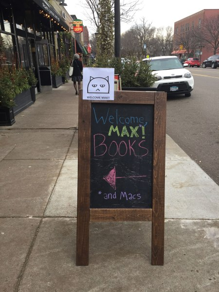 """Welcome Max!"" chalkboard sign"