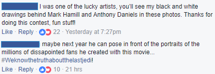 Two Facebook comments about Star Wars
