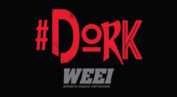 The official Red #Dork Logo and Gray WEEI Sports Radio Network logo