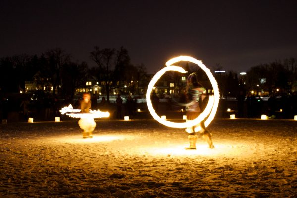 Fire dancers on the snow