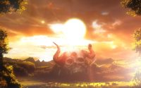 background shot of large skull and sunset in Black Clover