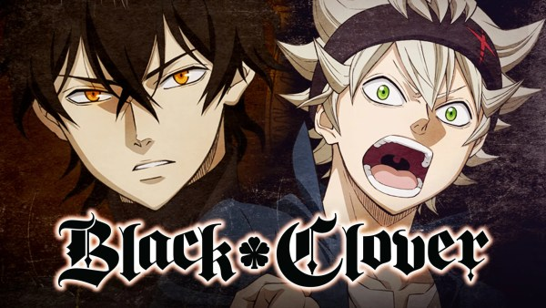 Main Charaacters Yuno and Asta with Black Clover logo