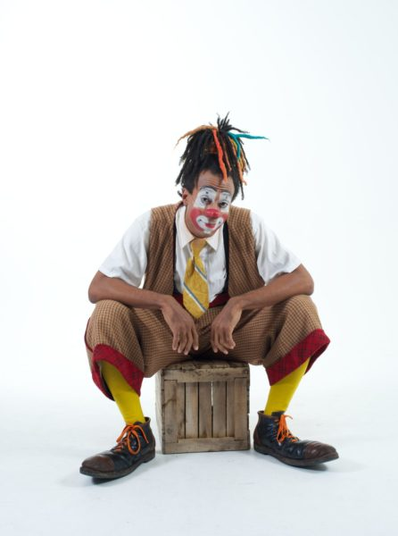 Greg Parks dressed as a clown with white background