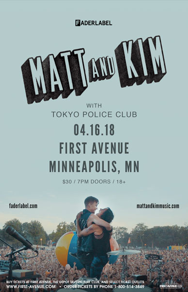 Matt and Kim concert poster for their show at First Avenue on April 16