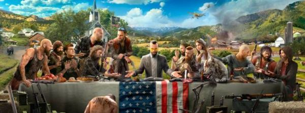 Far Cry 5 promotional art, depicting Eden's Gate cultists gathered around Joseph Seed at a dinner table, in the style of The Last Supper.