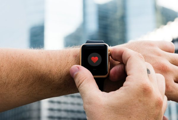 Smartwatch displaying a heart
