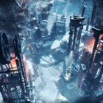 A cinematic view of a Frostpunk city