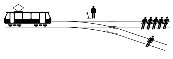 Diagram demonstrating the Trolley Problem.