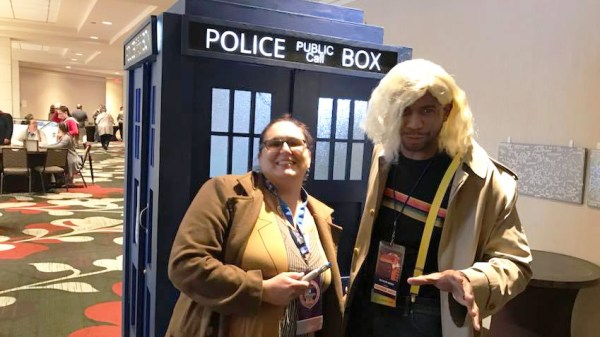 Two Doctor Who cosplayers