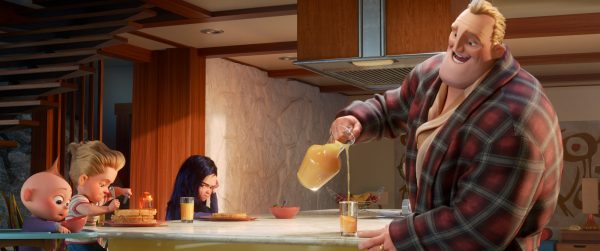 Mr. Incredible serves breakfast to his kids