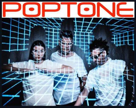 Members of Poptone with gridwork and logo on top
