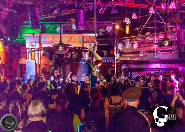 Aerial artist performing at Goth Prom 2018
