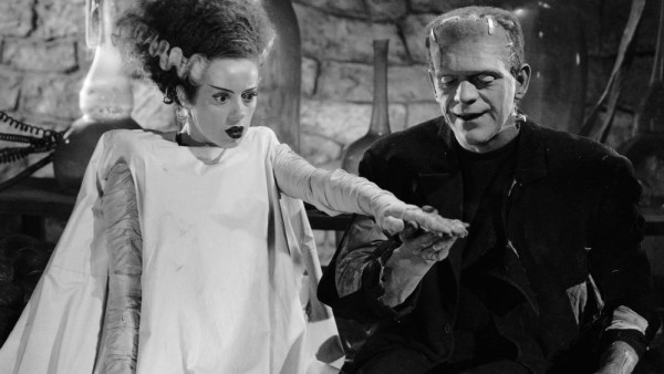 Elsa Lanchester as Mary Shelley and Boris Karloff as the Monster