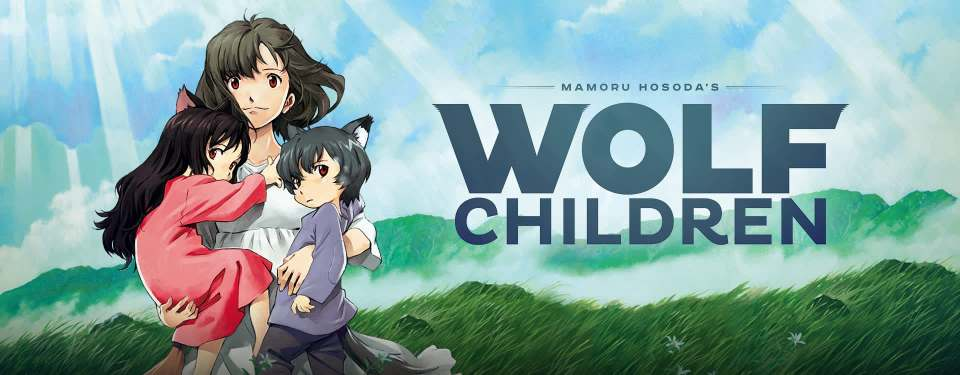 Promotional image for Wolf Children depicting a mother and two wolf-eared children in front of a grassy field.