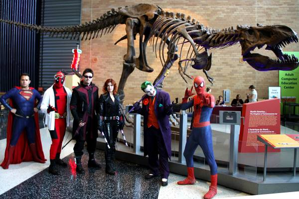 Marvel and DC cosplayers at the science museum